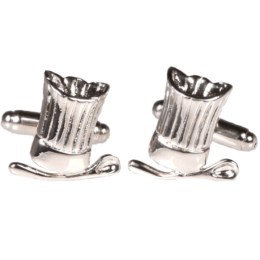 Silvertone Novelty Chef Hat Cufflinks with Jewelry Box