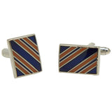 Men's Silvertone Square Blue/Orange Diagonal Stripes Cufflinks