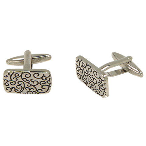 Men's Silvertone Square Black Swirl Pattern Cufflinks