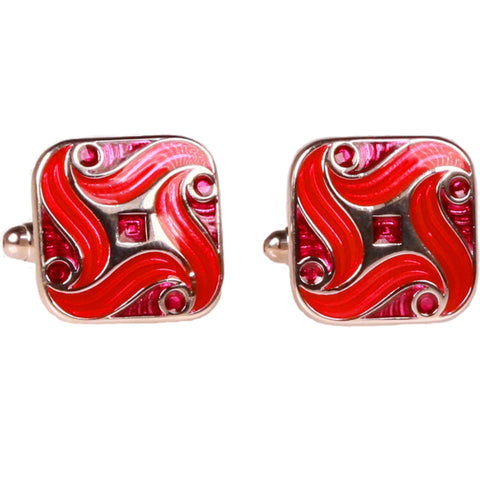 Silvertone Square Red Geometric Pattern Cufflinks with Jewelry Box
