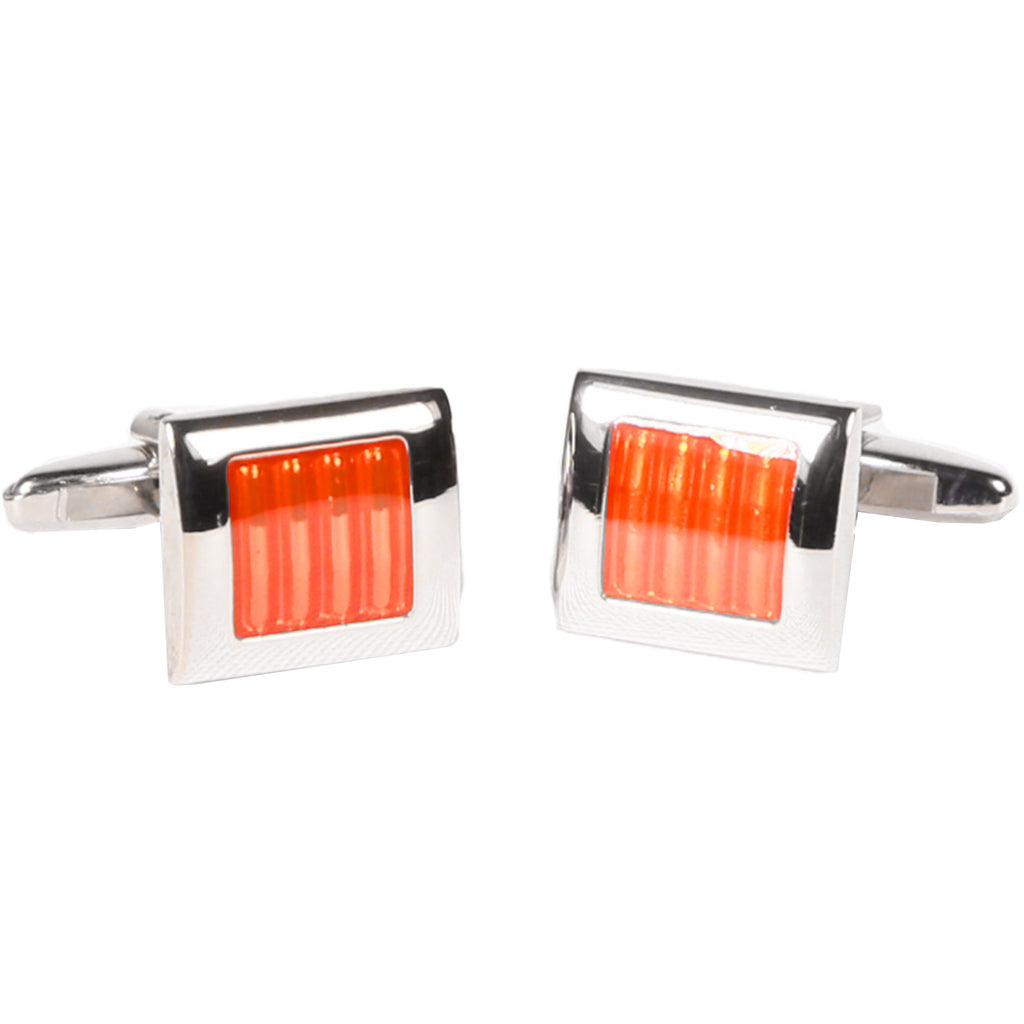 Silvertone Square Orange Gemstone Cufflinks with Jewelry Box