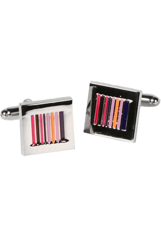 Silvertone Square Multicolor Cufflinks with Jewelry Box