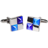 Silvertone Square Blue/Silver Cufflinks with Jewelry Box