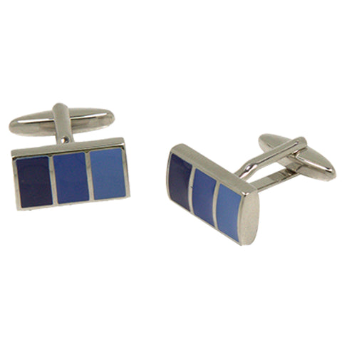 Silvertone Square Blue Stripe Gradient Cufflinks with Jewelry Box