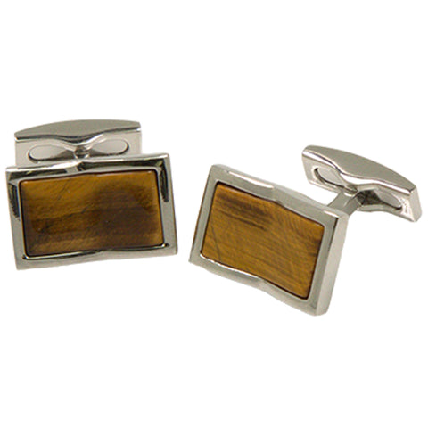 Men's Silvertone Square Yellow Square Gemstone Cufflinks