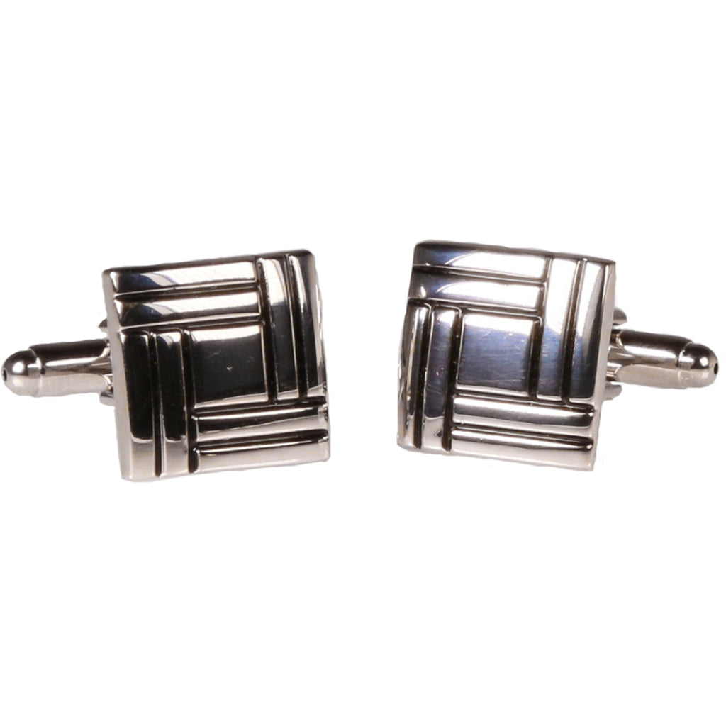 Silvertone Square Silver Quilt Cufflinks with Jewelry Box
