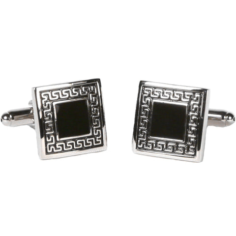 Silvertone Square Black/Silver Cufflinks with Jewelry Box
