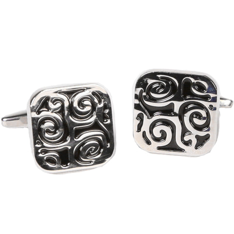 Silvertone Square Black Pattern Cufflinks with Jewelry Box