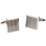 Silvertone Square Geometric Pattern Cufflinks with Jewelry Box