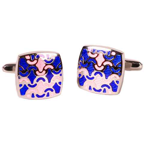 Silvertone Blue/Orange Geometric Pattern Cufflinks with Jewelry Box