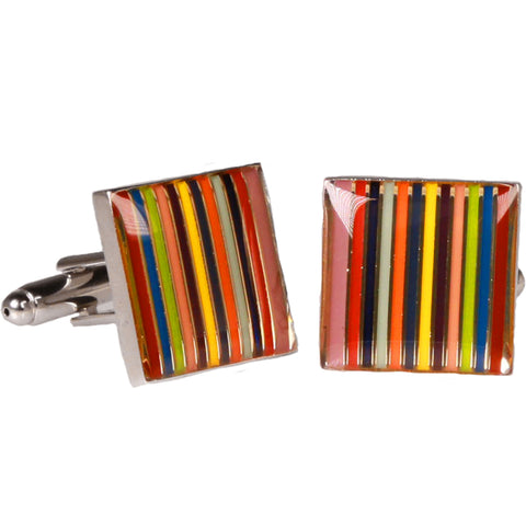 Silvertone Square Multicolor Stripe Cufflinks with Jewelry Box