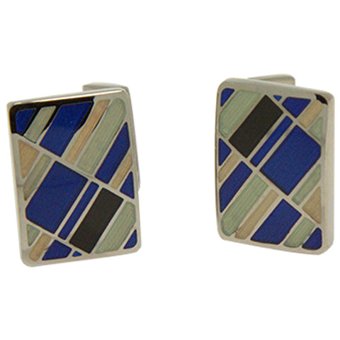 Men's Silvertone Square Blue Retro Pattern Cufflinks