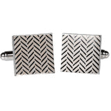 Silvertone Square Silver Zig Zag Cufflinks with Jewelry Box