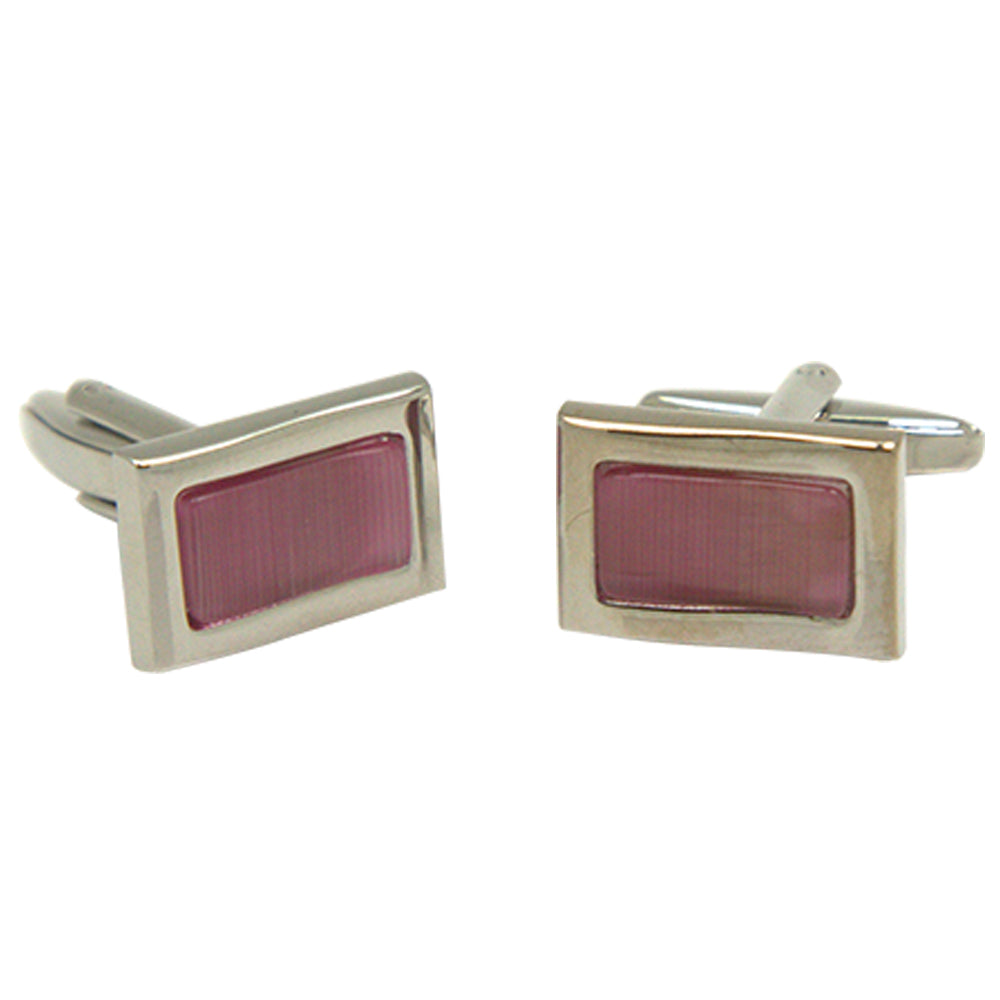 Men's Silvertone Square Pink Square Gemstone Cufflinks