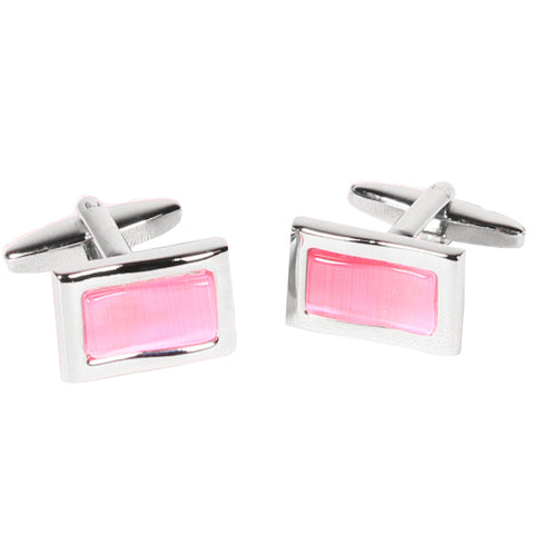 Silvertone Rectangle Pink Gemstone Cufflinks with Jewelry Box