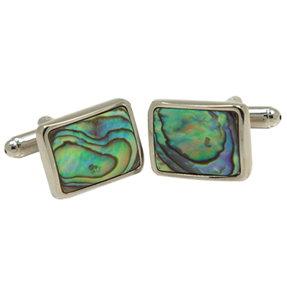 Men's Silvertone Square Green Holographic Gemstone Cufflinks