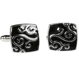 Silvertone Square Black Gold Pattern Cufflinks with Jewelry Box