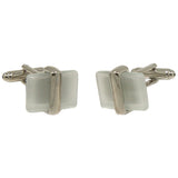 Men's Silvertone Square Pearl Gemstone Cufflinks