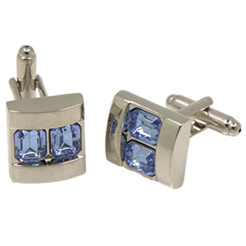 Silvertone Square Double Blue Gemstone Cufflinks with Jewelry Box