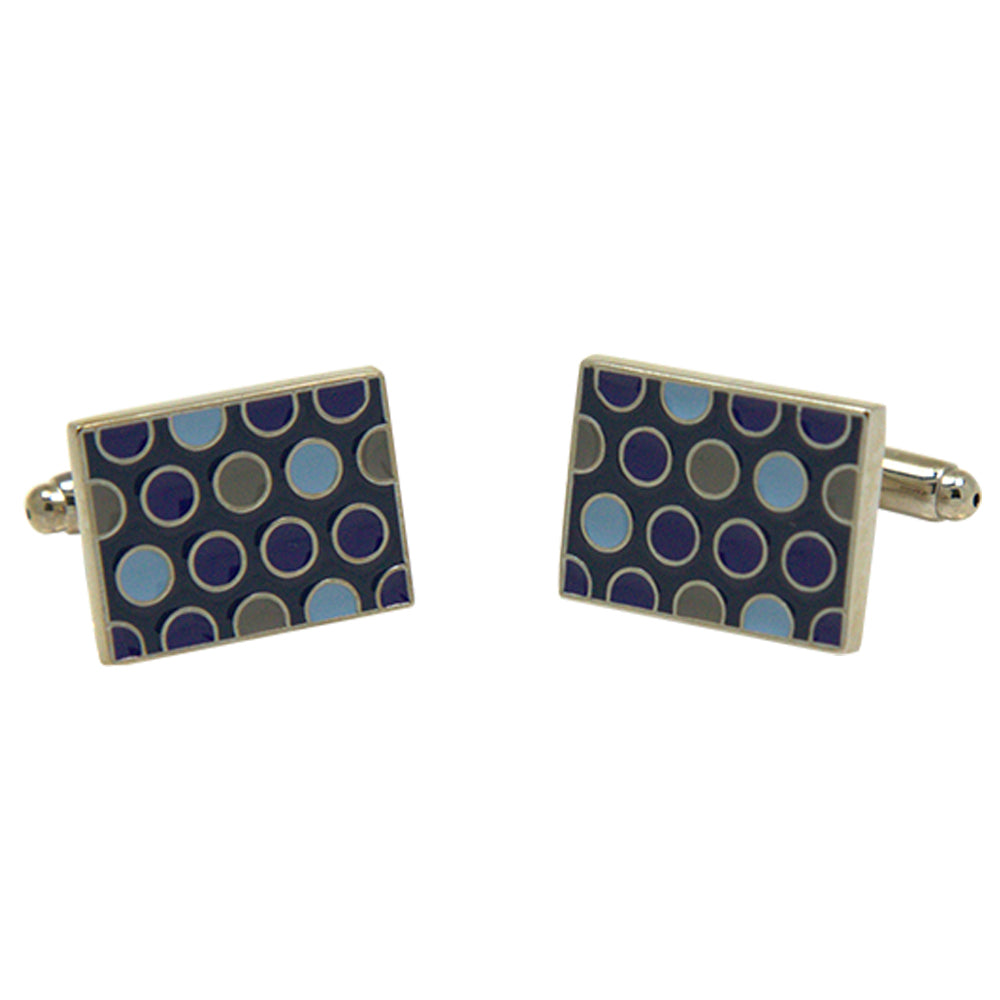 Men's Silvertone Square Blue Retro Circle Pattern Cufflinks