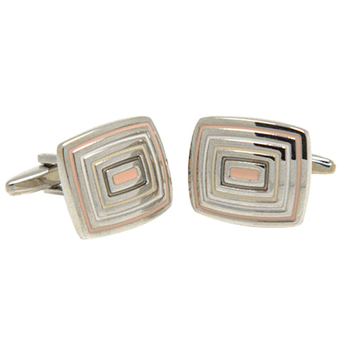 Silvertone Square Pink Squares Cufflinks with Jewelry Box