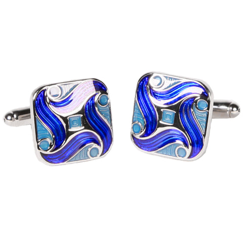 Silvertone Square Blue Swirl Geometric Pattern Cufflinks with Jewelry Box