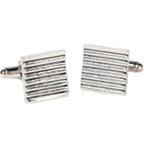 Silvertone Square Stripe Cufflinks with Jewelry Box