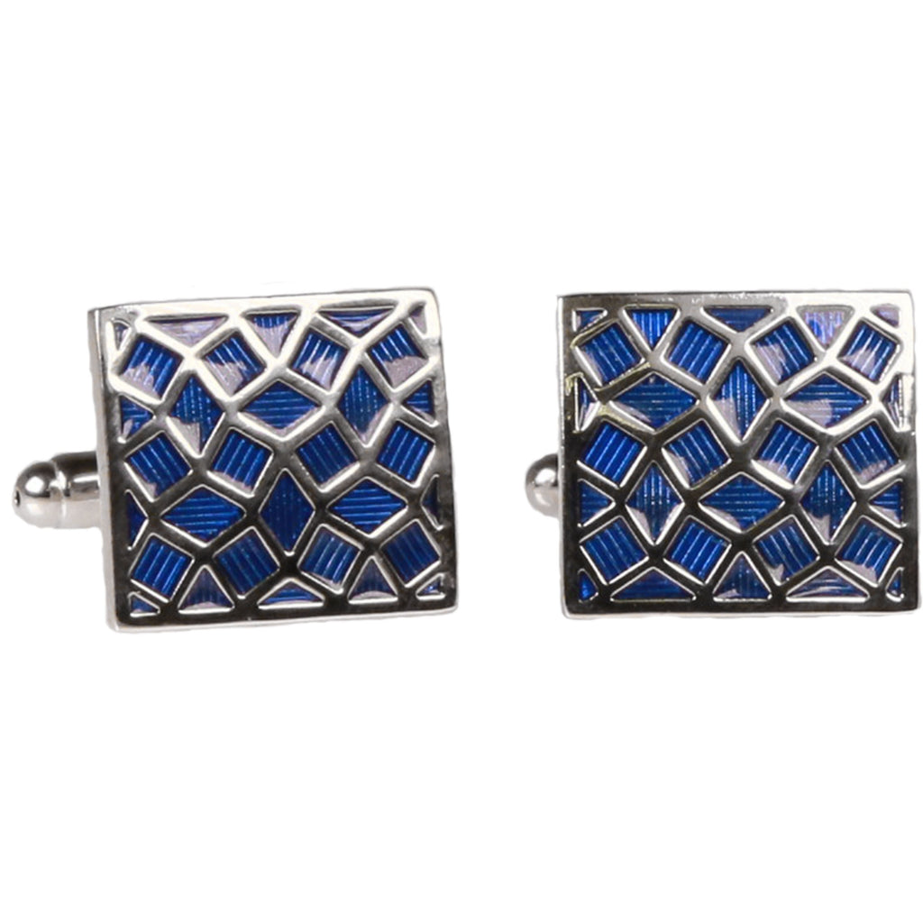 Silvertone Square Blue Geometric Pattern Cufflinks with Jewelry Box