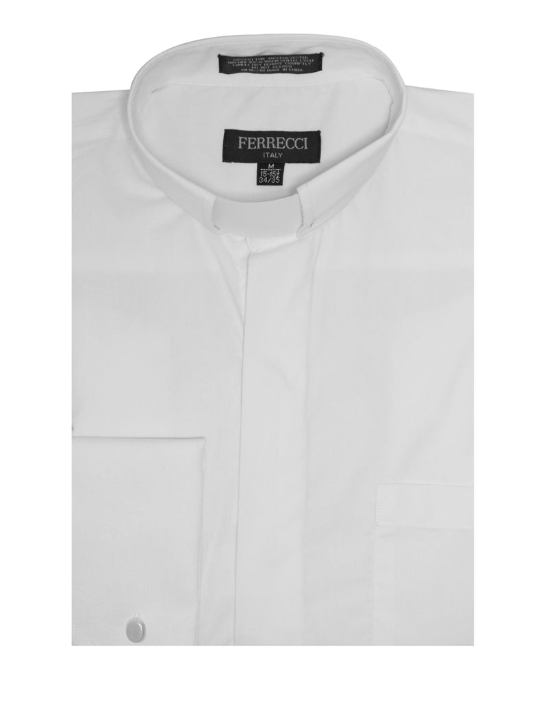 White Clergy Mandarin Collar Dress Shirt with SMALL TAB