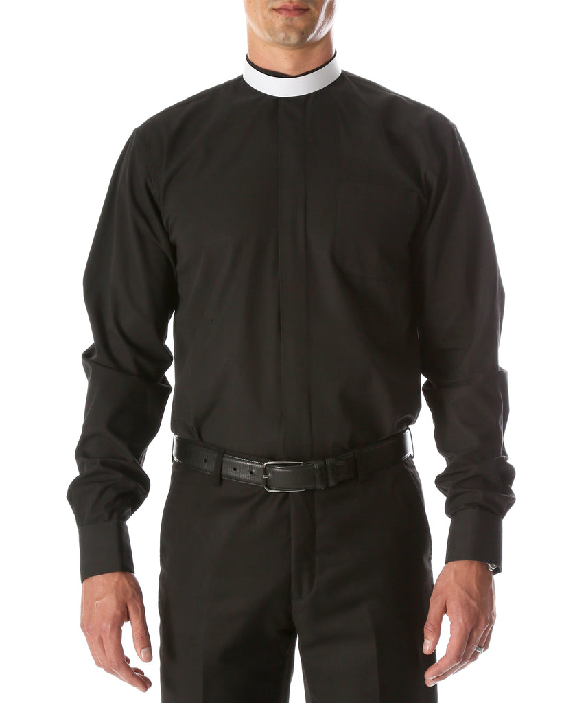 Black Mandarin Collar Clergy Shirt with FULL CIRCLE TAB - FHYINC best men
