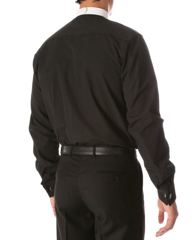 Black Mandarin Collar Clergy Shirt with FULL CIRCLE TAB
