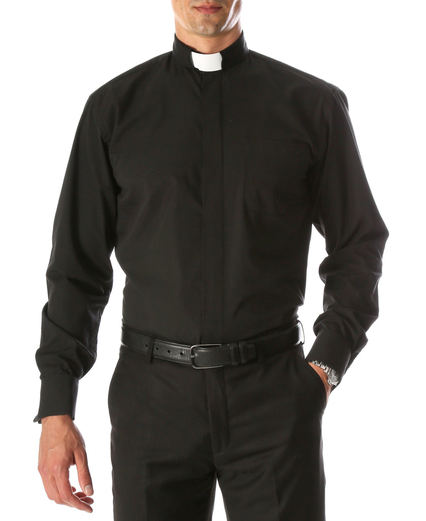 Black Clergy Deacon Bishop Priest Mandarin Half-Tab Collar Dress Shirt - FHYINC best men