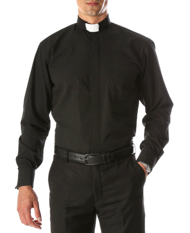 Black Clergy Deacon Bishop Priest Mandarin Half-Tab Collar Dress Shirt