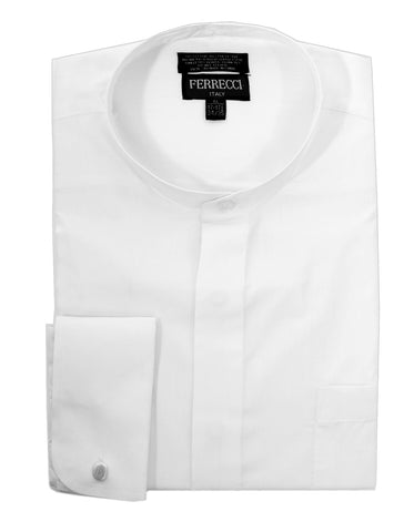 White Clergy Deacon Bishop Priest Mandarin Full-Tab Collar Dress Shirt