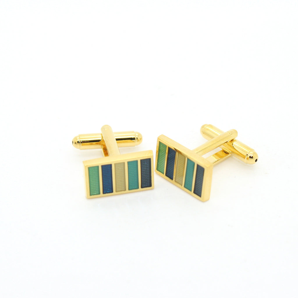 Goldtone Blue Cuff Links With Jewelry Box - FHYINC best men