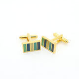 Goldtone Blue Cuff Links With Jewelry Box - FHYINC best men's suits, tuxedos, formal men's wear wholesale