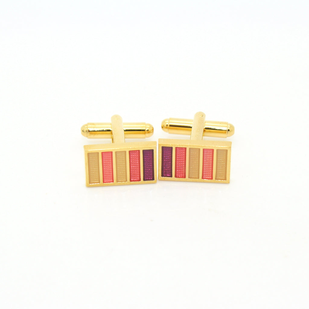 Goldtone Lavender Stripe Cuff Links With Jewelry Box - FHYINC best men's suits, tuxedos, formal men's wear wholesale