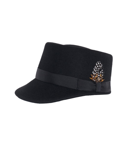 Modern Conductor Train Engineer Hat - Black