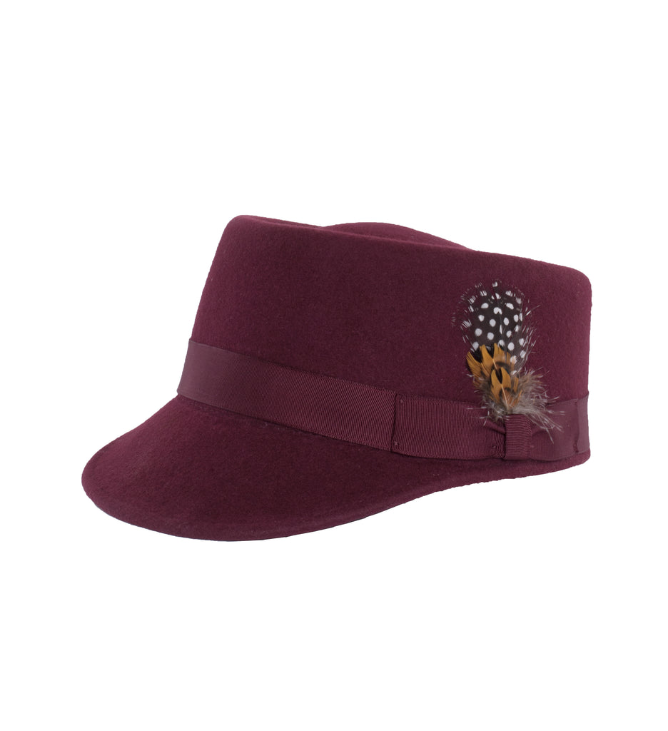 Modern Conductor Train Engineer Hat - Burgundy - FHYINC best men