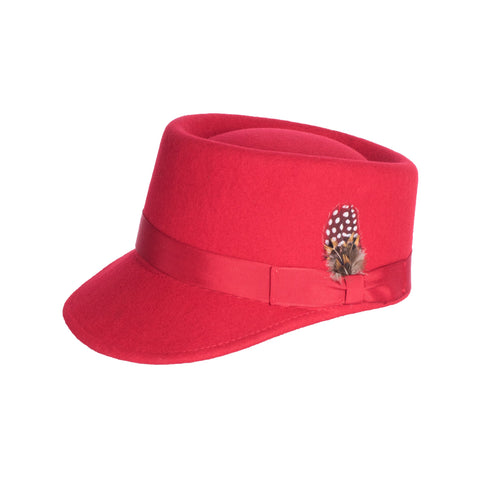 Modern Conductor Train Engineer Hat - Red