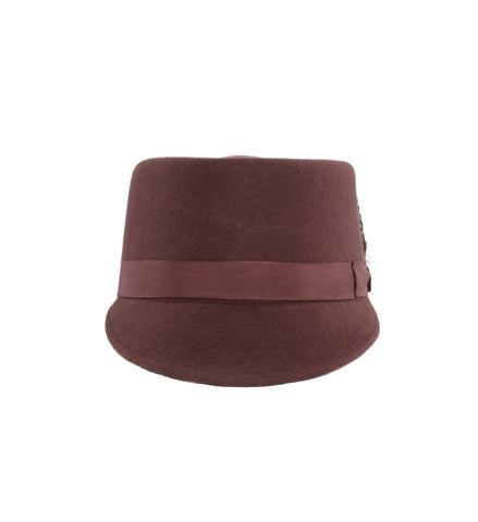 Modern Conductor Train Engineer Hat - Rust