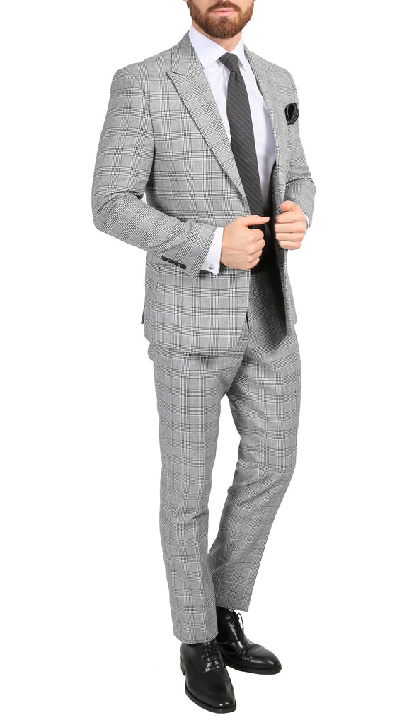 Conrad Skinny Slim Fit Grey 2pc Glen Plaid Peak Lapel Suit - FHYINC best men