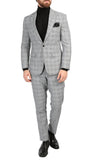 Conrad Skinny Slim Fit Grey 2pc Glen Plaid Peak Lapel Suit - FHYINC best men's suits, tuxedos, formal men's wear wholesale