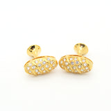 Goldtone Oval Crystal Gemstone Cuff Links With Jewelry Box - FHYINC best men's suits, tuxedos, formal men's wear wholesale