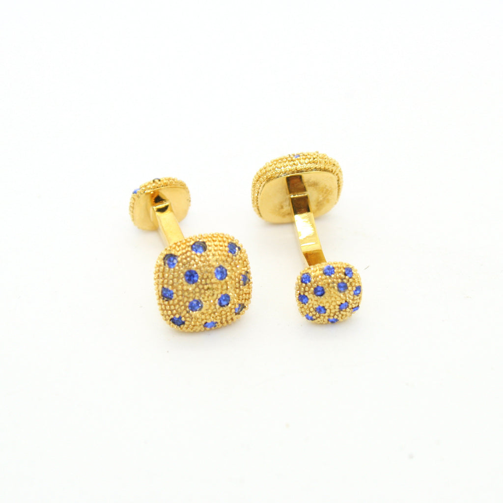 Goldtone Blue Gemstone #2 Metal Cuff Links With Jewelry Box - FHYINC best men