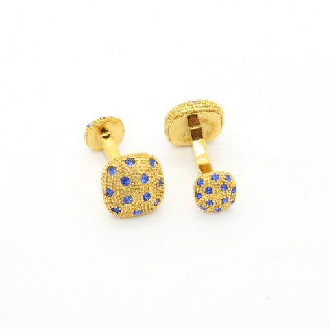 Goldtone Blue Gemstone #2 Metal Cuff Links With Jewelry Box