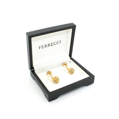 Goldtone Ball Gemstone Cuff Links With Jewelry Box