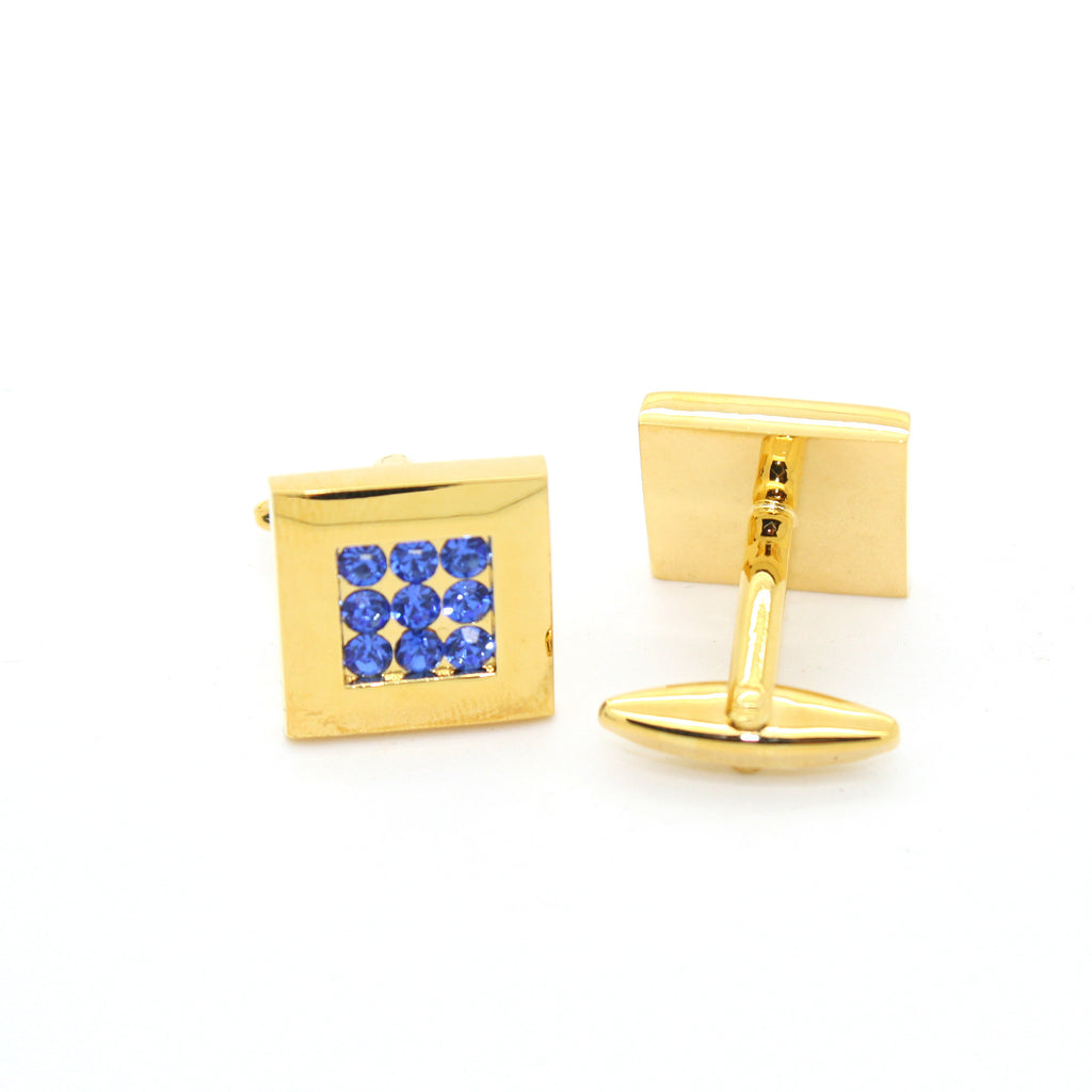 Goldtone Blue Gemstone Cuff Links With Jewelry Box - FHYINC best men