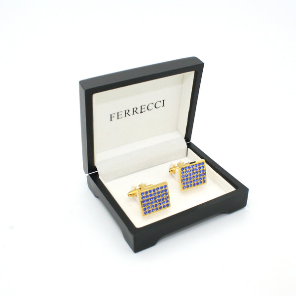 Goldtone Royal Blue Gemstone Cuff Links With Jewelry Box - FHYINC best men's suits, tuxedos, formal men's wear wholesale