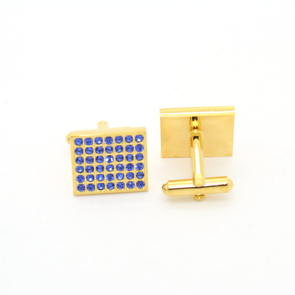 Goldtone Royal Blue Gemstone Cuff Links With Jewelry Box - FHYINC best men